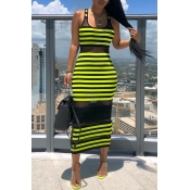 Lovely Chic Striped See-through Green Mid Calf Dre