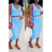 Lovely Casual V Neck Sleeveless Blue Two-piece Skirt Set