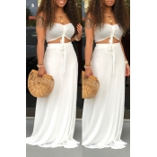 Lovely Casual Off The Shoulder White Two-piece Ski