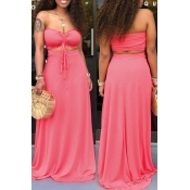 Lovely Casual Off The Shoulder Watermelon-red Two-piece Skirt Set