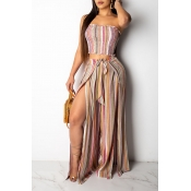 Lovely Casual Off The Shoulder Striped Pink Two-pi