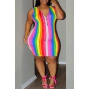 Lovely Stylish V Neck Striped Mini Dress