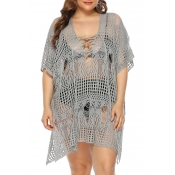Lovely Stylish Hollow-out Grey Cover-up