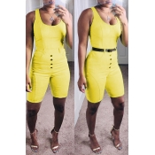 Lovely Casual Buttons Design Yellow One-piece Romper