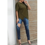 Lovely [Presale]Casual O Neck Asymmetrical Army Gr