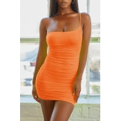 Lovely Sexy One Shoulder Orange Mini Dress
