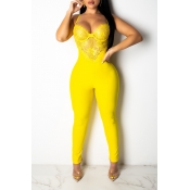 Lovely Sexy Halter Neck Yellow One-piece Jumpsuit