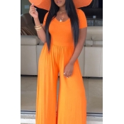Lovely Casual O Neck Orange One-piece Jumpsuit