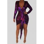 Lovely Trendy Asymmetrical Purple Mini Dress