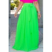 Lovely Trendy Bow-Tie Light Green Floor Length Skirt