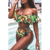 Lovely Off The Shoulder Printed Green Two-piece Swimwear