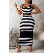 Lovely Chic Striped See-through White Mid Calf Dress