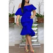 Lovely Stylish One Shoulder Ruffle Design Blue Kne