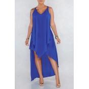 Lovely Casual V Neck Asymmetrical Blue Mid Calf Dress(Nonelastic)