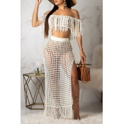 Lovely Off The Shoulder Tassel Design White Cover-