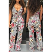 Lovely Casual Striped Printed Black One-piece Jumpsuit