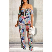 Lovely Bohemian Floral Printed Light Pink One-piece Jumpsuit