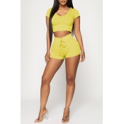Lovely Casual Hooded Collar Yellow Two-piece Shorts Set