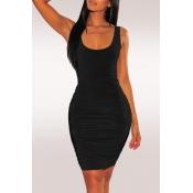 Lovely Sexy Backless Black Knee Length A Line Dress