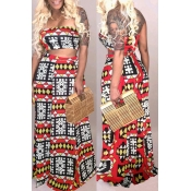 Lovely Stylish Off The Shoulder Printed Red Two-pi