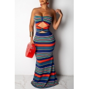 Lovely Sexy Off The Shoulder Striped Blue Mermaid