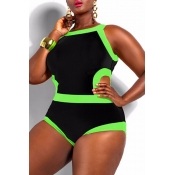 Lovely Patchwork Hollow-out Black One-piece Swimwe