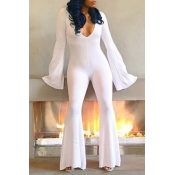 Lovely Sexy Deep V Neck White One-piece Jumpsuit