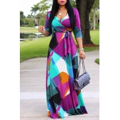 Lovely Sweet V Neck Color Block Patchwork Multicol