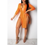 Encantadora Sexy Profundo Cuello En V Lado Dividir Naranja Rodilla Len
