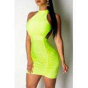 Lovely Sexy O Neck Hollow-out Yellow Mini A Line Dress