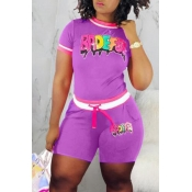 Lovely Casual O Neck Letter Printed Purple Two-piece Shorts Set