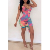 Lovely Casual Tie-dyed Draped Mini Dress
