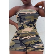 Lovely Casual Off The Shoulder Camouflage Printed One-piece Romper