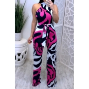 Lovely Sexy Printed Lace-up Multicolor One-piece J