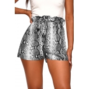 Lovely Bohemian Animal Printed Black Shorts