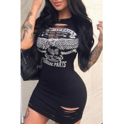 Lovely Casual O Neck Printed Hollow-out Black Mini Dress