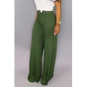 Lovely Casual High Waist Green Pants