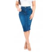 Lovely Casual High Waist Blue Denim Knee Length Sk
