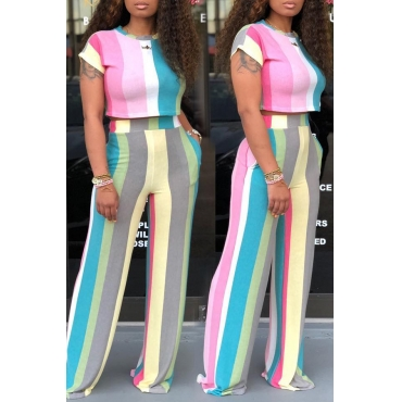 Lovely Leisure Striped Printed Yellow Two-piece Pants Set