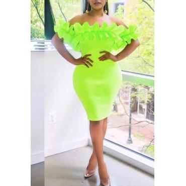 Lovely Trendy Off The Shoulder Ruffle Design Green Knee Length Dress