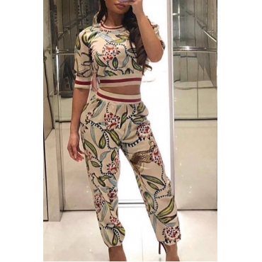 Lovely Work Printed White Two-piece Pants Set