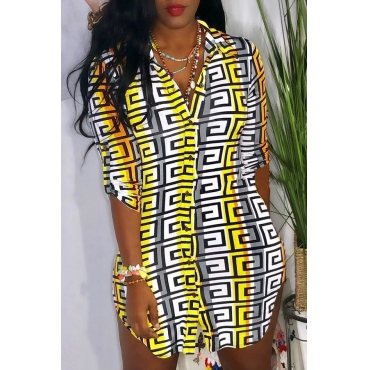 Lovely Casual Turndown Collar Printed Multicolor Mini Dress