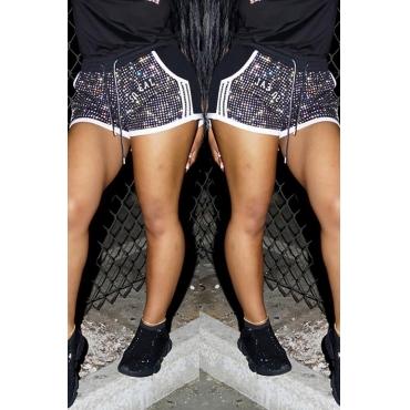 Lovely Casual Rhinestone Decoration Black Shorts