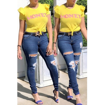 Lovely Leisure Letter Printed Yellow T-shirt