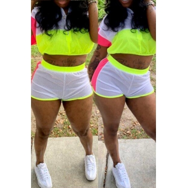 Lovely Casual Patchwork White Two-piece Shorts Set
