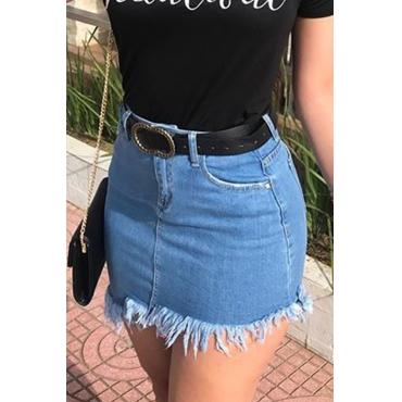 Lovely Stylish Tassel Design Baby Blue Skirt