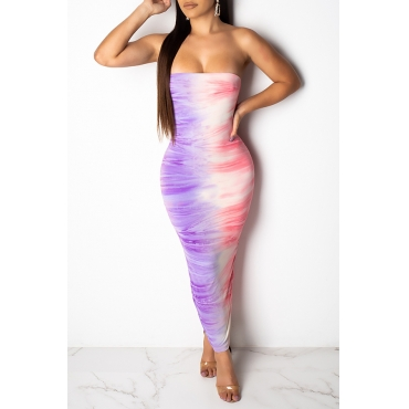 Lovely Sexy Off The Shoulder Purple Ankle Length Dress