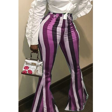 Lovely Stylish Striped Purple Pants