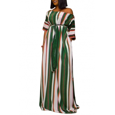Lovely Stylish One Shoulder Striped Printed Green Floor Length Dress