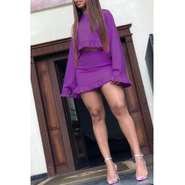 Lovely Casual O Neck Ruffle Design Purple Two-piece Skirt Set